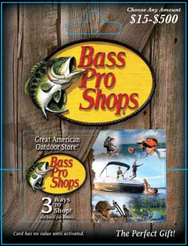 Bass Pro Shops $15-$500 Gift Card – Activate and add value after Pickup Perspective: front