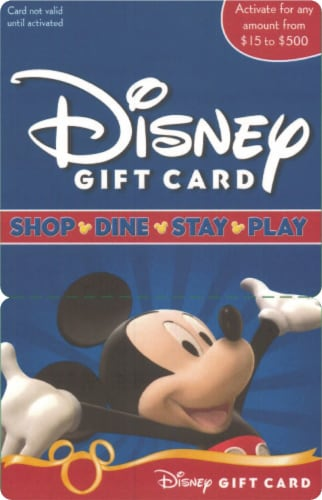 Disney $15-$500 Gift Card – Activate and add value after Pickup Perspective: front