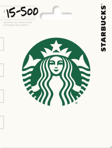 Starbucks $15-$500 Gift Card – Activate and add value after Pickup Perspective: front