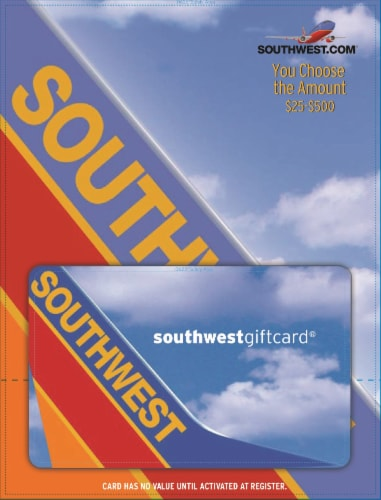 Southwest Airlines $25-$500 Gift Card – Activate and add value after Pickup Perspective: front