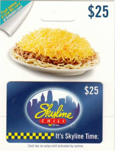 Skyline Chili $25 Gift Card – Activate and add value after Pickup Perspective: front