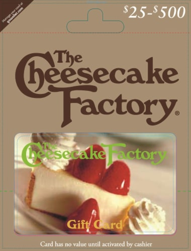 The Cheesecake Factory $25-$500 Gift Card – Activate and add value after Pickup Perspective: front