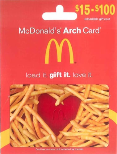 McDonalds $15-$100 Gift Card – Activate and add value after Pickup Perspective: front