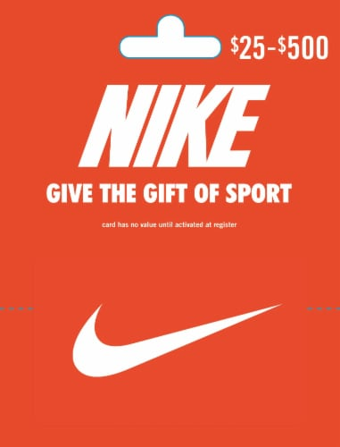 Nike $25-$500 Gift Card – Activate and add value after Pickup Perspective: front