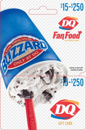 Dairy Queen $15-$250 Gift Card – Activate and add value after Pickup Perspective: front