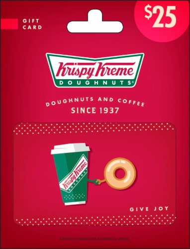 Krispy Kreme $25 Gift Card – Activate and add value after Pickup Perspective: front