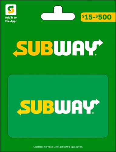 Subway $15-$500 Gift Card – Activate and add value after Pickup Perspective: front