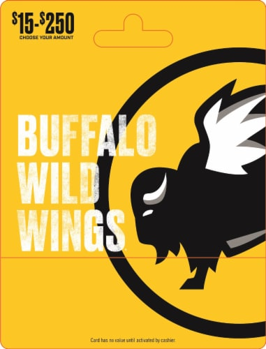 Buffalo Wild Wings $15-$250 Gift Card – Activate and add value after Pickup Perspective: front