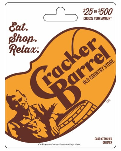 Cracker Barrel $25-$500 Gift Card – Activate and add value after Pickup Perspective: front