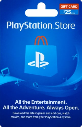 Sony PlayStation $25 Gift Card – Activate and add value after Pickup Perspective: front