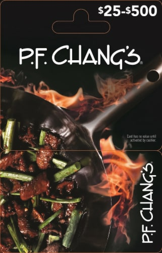 P.F. Chang's $25-$500 Gift Card – Activate and add value after Pickup Perspective: front