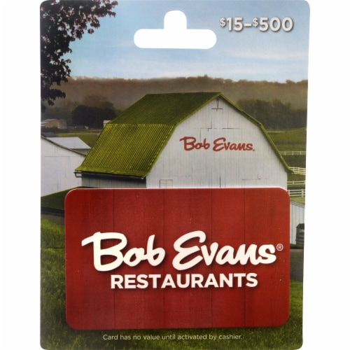 Bob Evans $15-$500 Gift Card – Activate and add value after Pickup Perspective: front