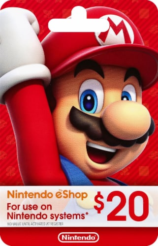 Nintendo Wii $20 Gift Card – Activate and add value after Pickup Perspective: front