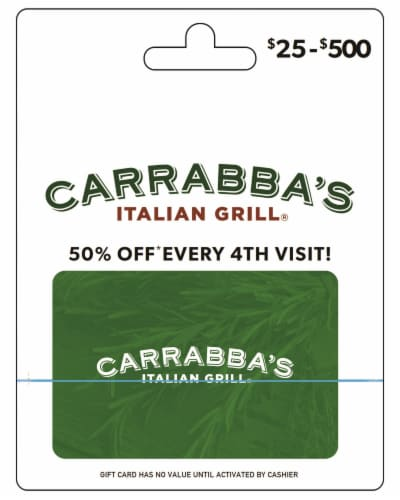 Carrabba's $25-$500 Gift Card – Activate and add value after Pickup Perspective: front