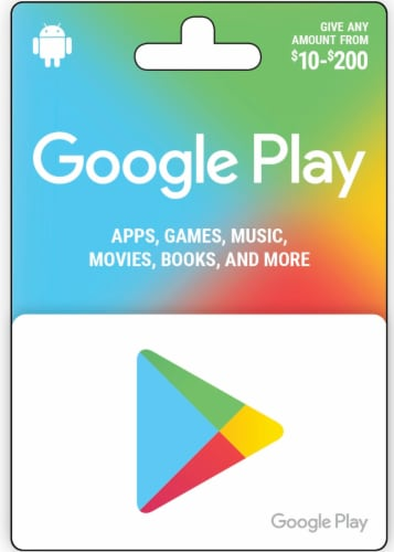 Google Play $10-$200 Gift Card – Activate and add value after Pickup Perspective: front