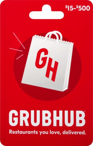 Grubhub $15-$500 Gift Card – Activate and add value after Pickup Perspective: front