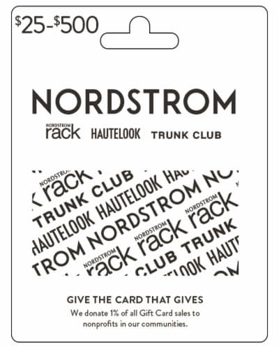 Nordstrom $25-$500 Gift Card – Activate and add value after Pickup Perspective: front