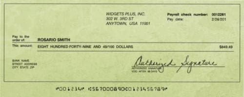 Cash Payroll Check Perspective: front