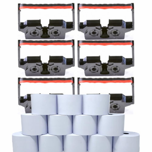 Monroe Supply Kit (6) P51S Ribbon Cartridges And (12) Rolls Of Premium 20 lb. Bond Paper Perspective: front