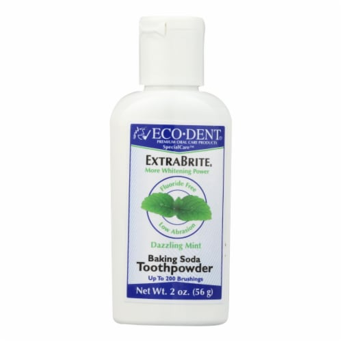 Eco-Dent ExtraBrite Dazzling Mint Baking Soda Toothpowder Perspective: front