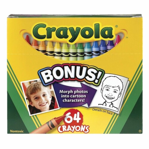 Crayola 007539 Crayons Crayola 64 Ct Hinged Top With Sharpener Std Size Perspective: front