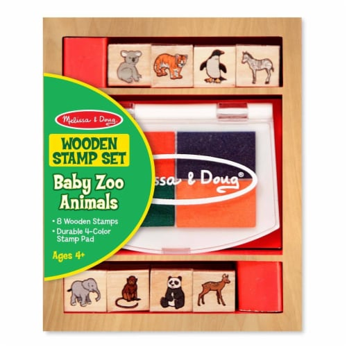 Melissa And Doug Baby Zoo Animals Wooden Stamp Set Perspective: front
