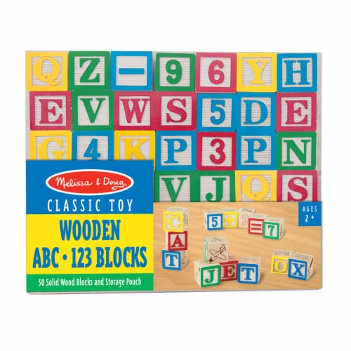 Melissa & Doug® Wooden ABC 123 Blocks Perspective: front