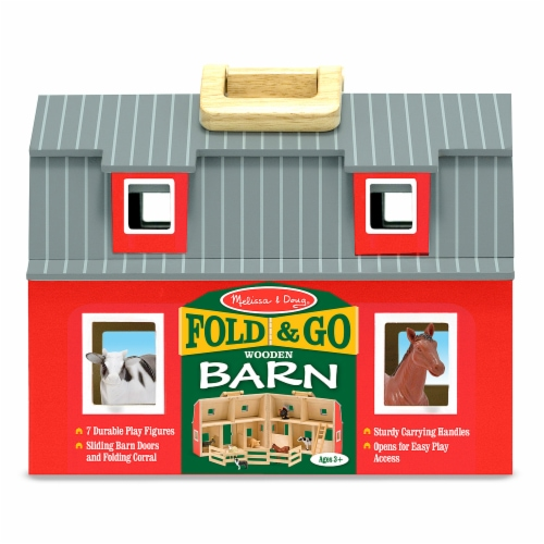 Melissa and Doug® Fold and Go Wooden Barn Perspective: front