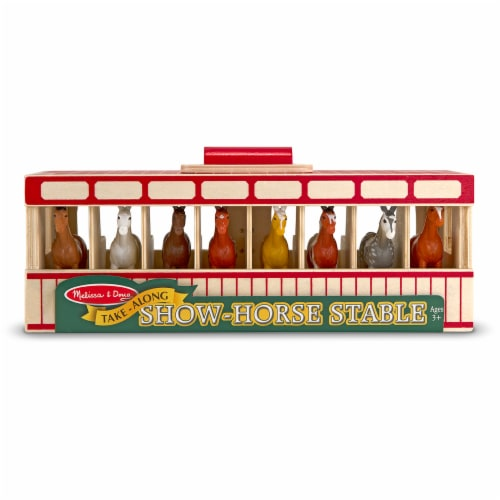 Melissa & Doug® Take-Along Show-Horse Stable Toy Perspective: front