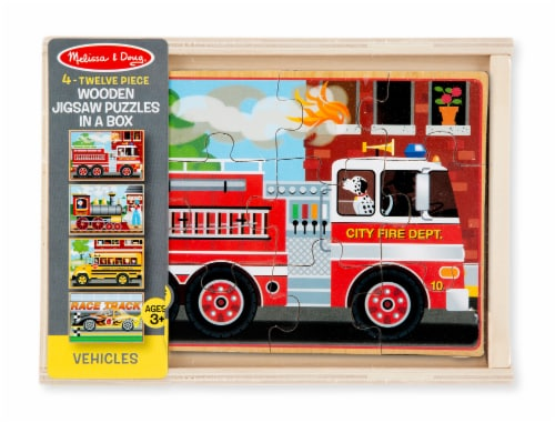 Melissa & Doug® Vehicle Puzzles in a Box Perspective: front
