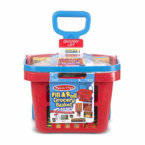 Melissa & Doug® Rolling Grocery Basket Perspective: front