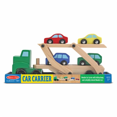 Melissa and Doug® Car Carrier Truck and Cars Wooden Toy Set Perspective: front