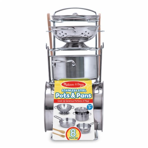 Melissa & Doug® Let's Play House! Stainless Steel Pots and Pans Playset Perspective: front