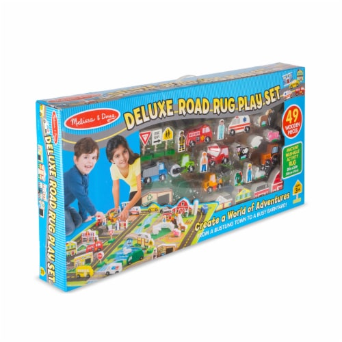 Melissa & Doug® Deluxe Road Rug Play Set Perspective: front