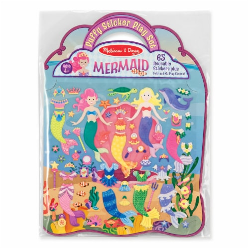 Melissa and Doug® Mermaid Puffy Sticker Play Set Perspective: front