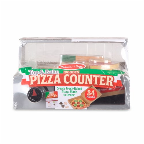 Melissa & Doug® Top & Bake Wooden Pizza Counter Toy Perspective: front