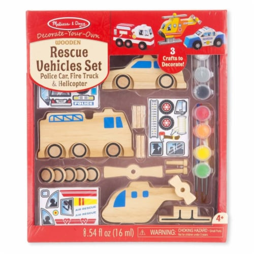 Melissa And Doug Decorate Your Own Rescue Vehicles Set Perspective: front