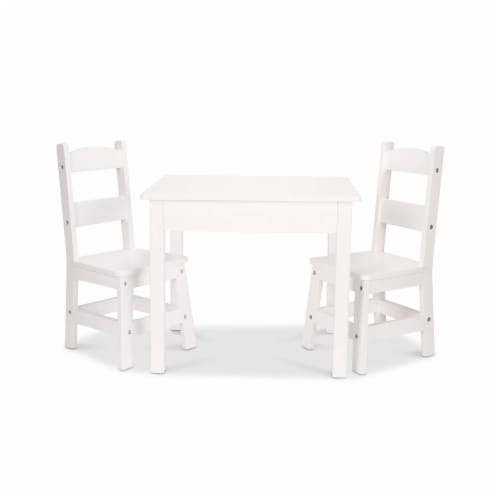 Melissa & Doug® Wooden Table & Chairs - White Perspective: front