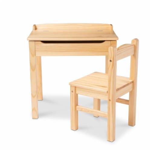 Melissa & Doug® Wooden Lift-Top Desk & Chair - Honey Perspective: front