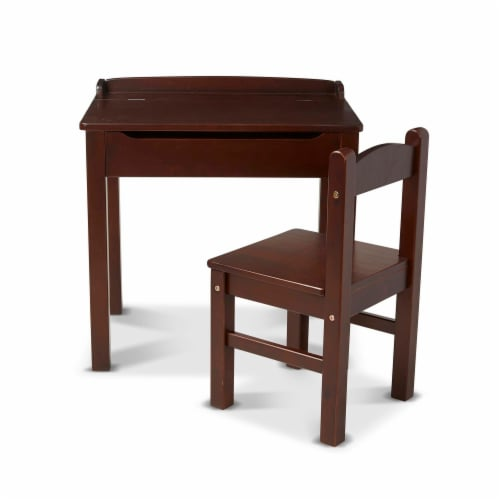 Melissa & Doug® Wooden Lift-Top Desk & Chair - Espresso Perspective: front