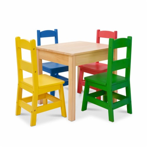 Melissa & Doug® Primary Colors Table & Chairs Set Perspective: front