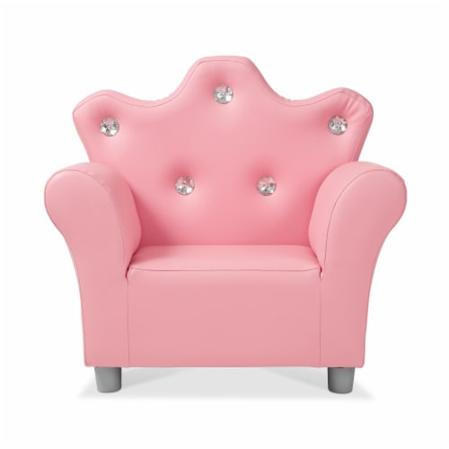Melissa & Doug® Faux Leather Child's Crown Armchair - Pink Perspective: front