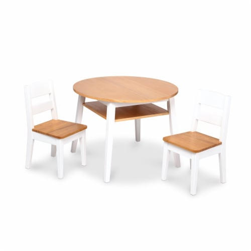 Melissa & Doug Wooden Round Table & Chairs Set Perspective: front