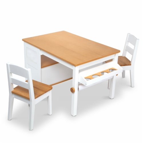Melissa & Doug Wooden Art Table & Chairs Set Perspective: front