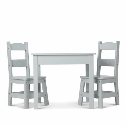 Melissa & Doug® Wooden Table & Chairs Set - Gray Perspective: front