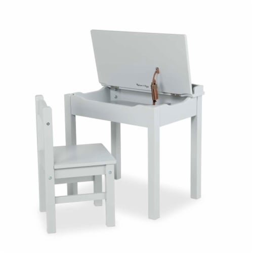 Melissa & Doug® Wooden Lift-Top Desk & Chair - Gray Perspective: front