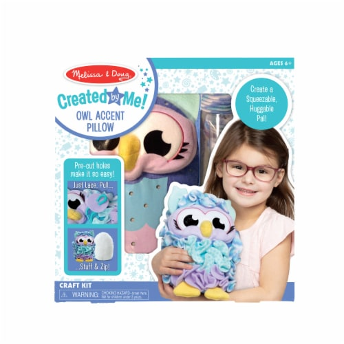 Melissa & Doug® Created by Me! Owl Accent Pillow - Purple/Blue Perspective: front