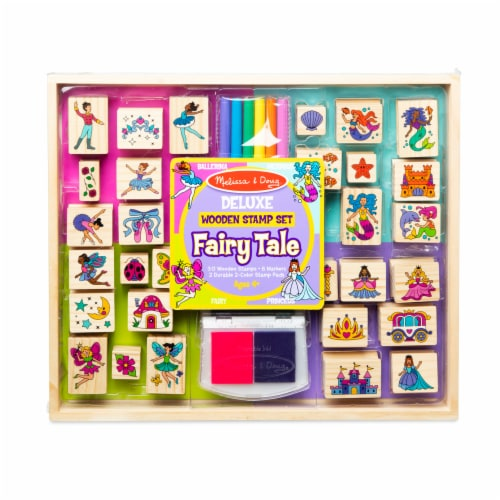 Melissa & Doug® Deluxe Fairy Tale Wooden Stamp Set Perspective: front