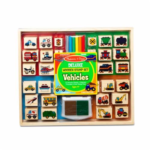Melissa & Doug® Vehicles Deluxe Wooden Stamp Set Perspective: front