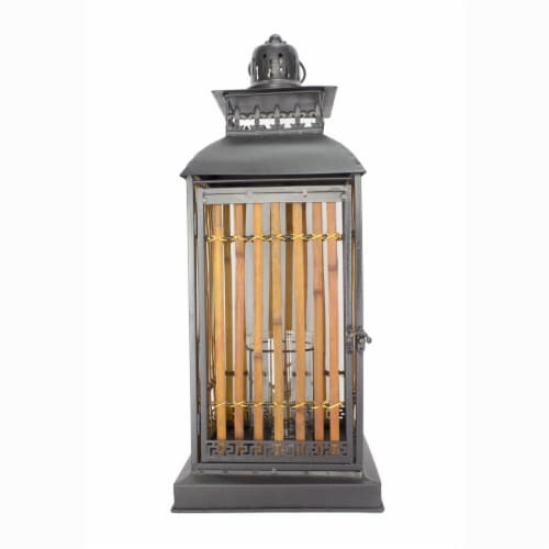 Heather Ann Creations W70193 25 in. Clayton Metal & Bamboo Lantern, Black & Natural Perspective: front